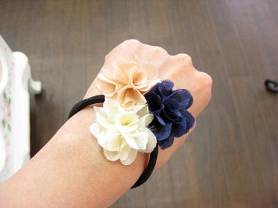 春物 花ヘアゴム ブルー・ピンク・ホワイト
