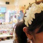 ビーズ刺繍カチューシャ オフホワイト