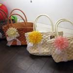 お花付きカゴバッグ 4色