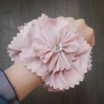 ふんわりお花シュシュ ピンク