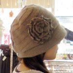 お花付ウールニット帽