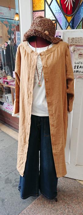 麻 ワンピース 羽織